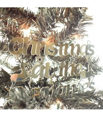 Laser Cut Mirrored Acrylic Personalised 'Christmas At The...' Sign with Reindeers and Snowflakes