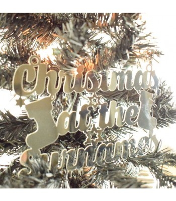 Laser Cut Mirrored Acrylic Personalised 'Christmas At The...' Sign with Stockings and Snowflakes
