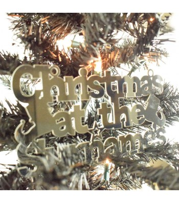 Laser Cut Mirrored Acrylic Personalised 'Christmas At The...' Sign with Elf Shoes and Stars