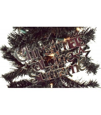 Laser Cut Mirrored Acrylic Personalised 'Christmas At The...' Sign with Stars (Vic Font)