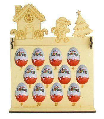 6mm Kinder Eggs Holder 12 Days of Christmas Advent Calendar with Gingerbread House Topper