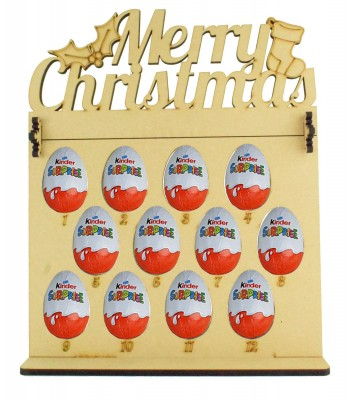 6mm Kinder Eggs Holder 12 Days of Christmas Advent Calendar with 'Merry Christmas' Topper
