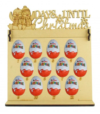 6mm Kinder Eggs Holder 12 Days of Christmas Advent Calendar with 'Days Until Christmas' Penguins Topper