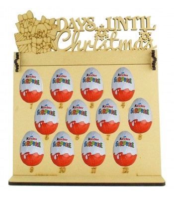 6mm Kinder Eggs Holder 12 Days of Christmas Advent Calendar with 'Days Until Christmas' Presents & Dog Topper