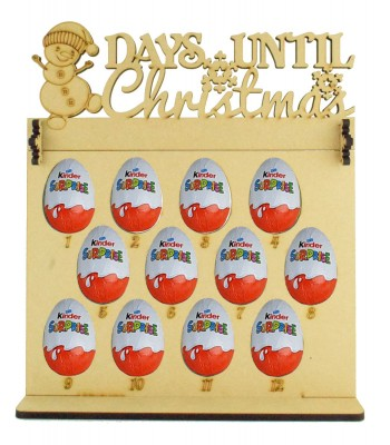 6mm Kinder Eggs Holder 12 Days of Christmas Advent Calendar with 'Days Until Christmas' Snowman Topper