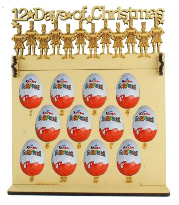 6mm Kinder Eggs Holder 12 Days of Christmas Advent Calendar with '12 Days of Christmas' 12 Drummers Drumming Topper