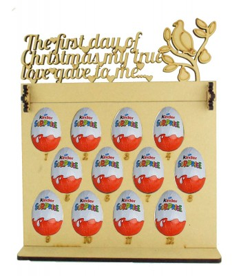6mm Kinder Eggs Holder 12 Days of Christmas Advent Calendar with 'The first day of Christmas my true love gave to me...' A partridge in a pear tree Topper