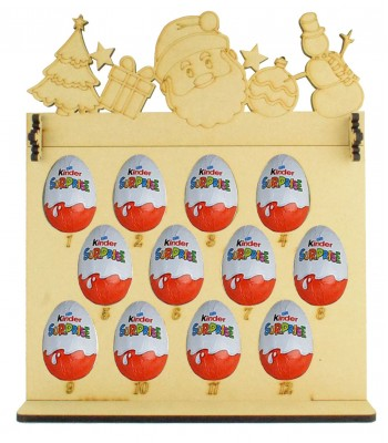 6mm Kinder Eggs Holder 12 Days of Christmas Advent Calendar with Christmas Shapes Topper