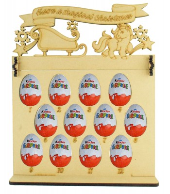 6mm Kinder Eggs Holder 12 Days of Christmas Advent Calendar with 'Have a magical Christmas' Unicorn & Sleigh Topper