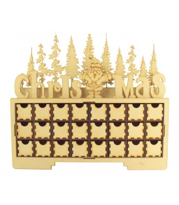 Laser Cut Christmas Rectangle 24 Drawer Advent Calendar Drawers with Santa and Christmas Trees