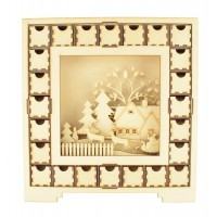 Laser Cut Christmas Square Advent Calendar Drawers with 3D Christmas Center Scene - 24 Drawers - Select Options