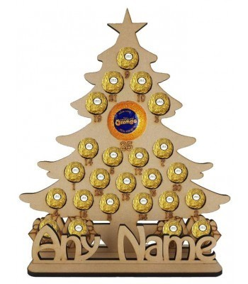 6mm Personalised Christmas Tree Chocolate Orange and Ferrero Rocher Holder Advent Calendar