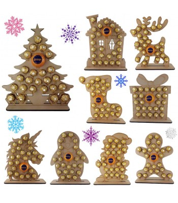 6mm Christmas Chocolate Orange and Ferrero Rocher Holder Advent Calendar BULK BUY PACK OF 8 MIXED SHAPES