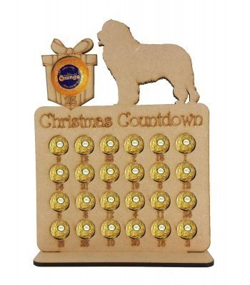 6mm 'Christmas Countdown' Chocolate Orange and Ferrero Rocher Holder Advent Calendar - Present with Dog of your choice.