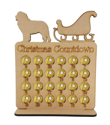 6mm 'Christmas Countdown' Ferrero Rocher Holder Advent Calendar - Sleigh with Dog of your choice.