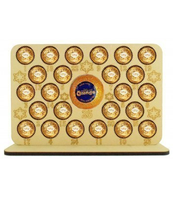 6mm Ferrero Rocher/Lindt Chocolate Balls and Terry's Chocolate Orange Holder Basic Advent Calendar Plaque with Etched Snowflakes