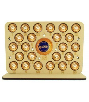 6mm Ferrero Rocher/Lindt Chocolate Balls and Terry's Chocolate Orange Holder Basic Advent Calendar Plaque with Cut Out Stars