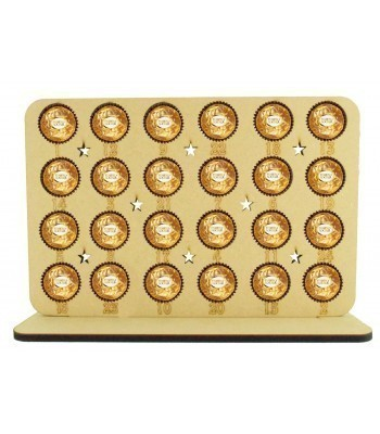 6mm Ferrero Rocher/Lindt Chocolate Balls Holder Basic Advent Calendar Plaque with Cut Out Stars