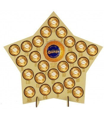 6mm Ferrero Rocher/Lindt Chocolate Balls and Terry's Chocolate Orange Holder Basic Advent Calendar Star