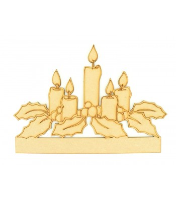 Laser cut Candles with Holly Shape on a Plinth