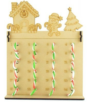 6mm Candy Cane Sweets Holder Advent Calendar with Gingerbread House Topper