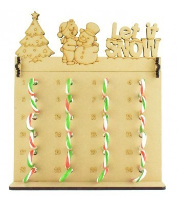 6mm Candy Cane Sweets Holder Advent Calendar with 'Let it snow' Teddy & Snowman Topper