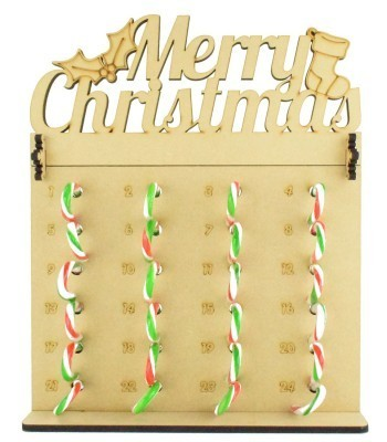 6mm Candy Cane Sweets Holder Advent Calendar with 'Merry Christmas' Topper