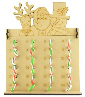 6mm Candy Cane Sweets Holder Advent Calendar with Rudolph, Santa & Snowman Topper