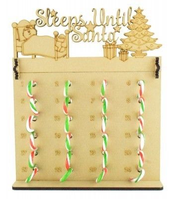 6mm Candy Cane Sweets Holder Advent Calendar with 'Sleeps Until Santa' Topper