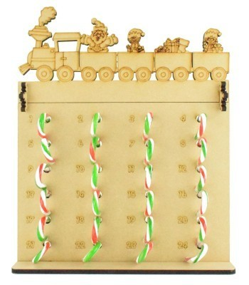 6mm Candy Cane Sweets Holder Advent Calendar with Christmas Train Topper