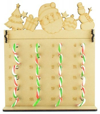 6mm Candy Cane Sweets Holder Advent Calendar with Christmas Shapes Topper