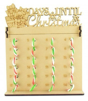 6mm Candy Cane Sweets Holder Advent Calendar with 'Days Until Christmas' Presents & Dog Topper