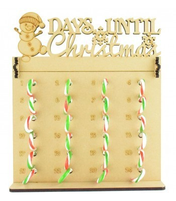 6mm Candy Cane Sweets Holder Advent Calendar with 'Days Until Christmas' Snowman Topper