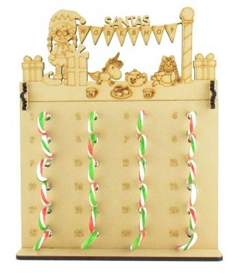 6mm Candy Cane Sweets Holder Advent Calendar with 'Santas Workshop' Elf Girl Topper