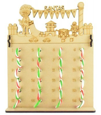 6mm Candy Cane Sweets Holder Advent Calendar with 'Santas Workshop' Elf Boy Topper