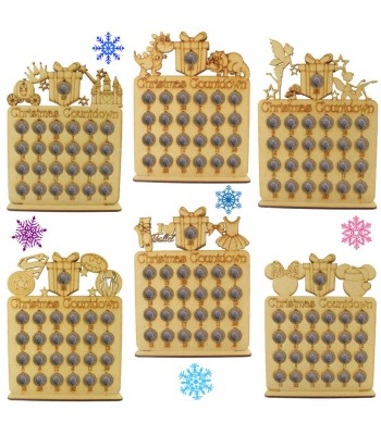 Laser Cut Christmas Countdown £1 Coin Holder - BULK BUY MIXED