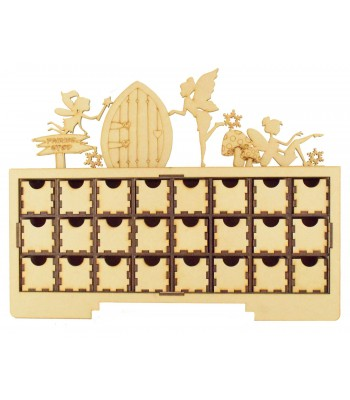 Laser Cut Christmas Rectangle 24 Drawer Advent Calendar Drawers with Fairies