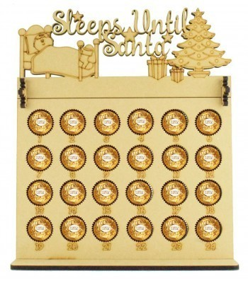 6mm Ferrero Rocher & Lindt Chocolate Balls Holder Advent Calendar with 'Sleeps Until Santa' Topper