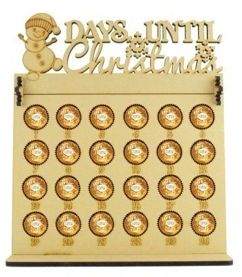 6mm Ferrero Rocher & Lindt Chocolate Balls Holder Advent Calendar with 'Days Until Christmas' Snowman Topper