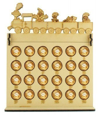 6mm Ferrero Rocher & Lindt Chocolate Balls Holder Advent Calendar with Christmas Train Topper