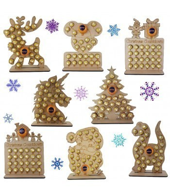 6mm Christmas Chocolate Orange and Ferrero Rocher Holder Advent Calendar BULK BUY PACK OF 8 MIXED