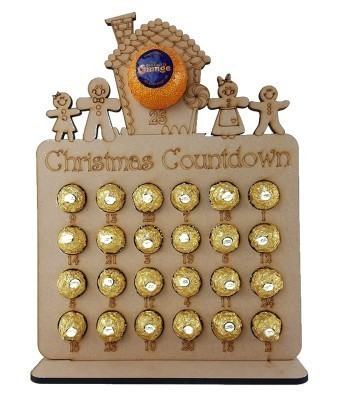 6mm Gingerbread Family & House Chocolate Orange and Ferrero Rocher Holder Advent Calendar