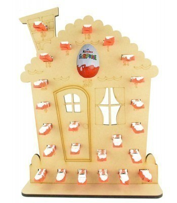 6mm Kinder Chocolate Bars & Kinder Egg Holder Advent Calendar - Gingerbread House