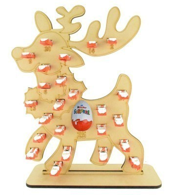 6mm Kinder Chocolate Bars & Kinder Egg Holder Advent Calendar - Reindeer