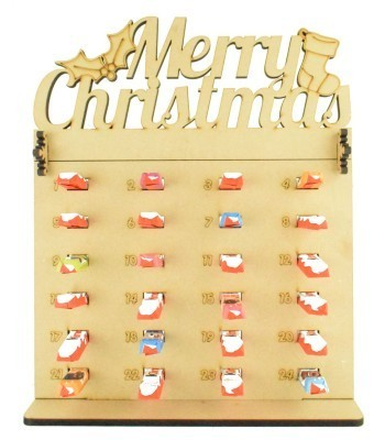 6mm Kinder Chocolate Bars Holder Advent Calendar with 'Merry Christmas' Topper