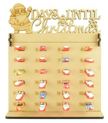 6mm Kinder Chocolate Bars Holder Advent Calendar with 'Days Until Christmas' Santa Topper