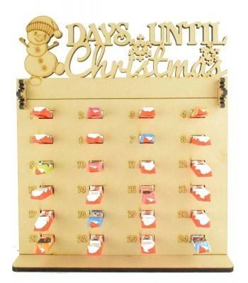 6mm Kinder Chocolate Bars Holder Advent Calendar with 'Days Until Christmas' Snowman Topper