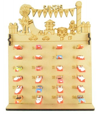 6mm Kinder Chocolate Bars Holder Advent Calendar with 'Santas Workshop' Elf Boy Topper