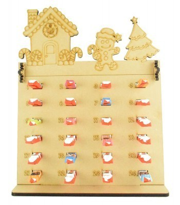 6mm Kinder Chocolate Bars Holder Advent Calendar with Gingerbread House Topper