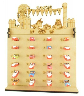 6mm Kinder Chocolate Bars Holder Advent Calendar with 'Santas Workshop' Elf Girl Topper